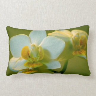 pretty white orchid flower in green. Floral garden Lumbar Pillow