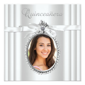 Pretty White Photo Quinceanera Card