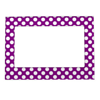Pretty White Polka Dots on Purple Magnetic Frame