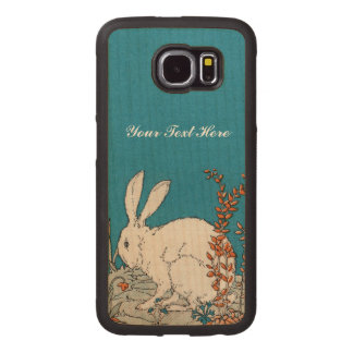 Pretty White Rabbit Sitting on Ground With flowers Wood Phone Case