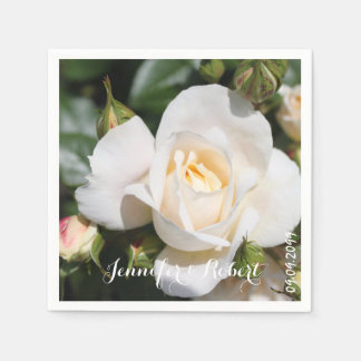 pretty white rose flower wedding napkins