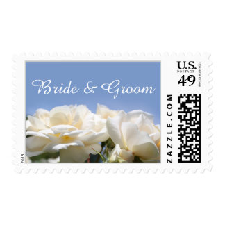 pretty white rose flowers bride and groom wedding postage