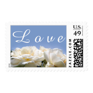 pretty white rose flowers love wedding stamps