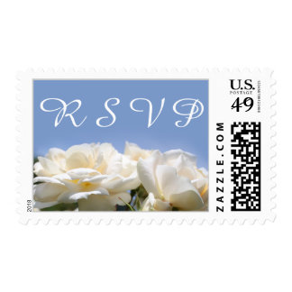 pretty white rose flowers RSVP wedding Postage