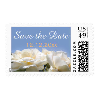 pretty white rose flowers save the date wedding postage