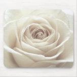 Pretty white rose mouse mats