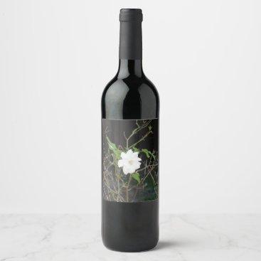 Beach Themed Pretty White Rose Wine Label