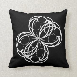 Pretty White Scrollwork on Black Pillow