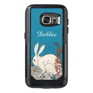 Pretty White sitting Rabbit Blue Orange Flowers OtterBox Samsung Galaxy S7 Case