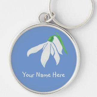 Pretty White Snowdrop Flower on Blue Silver-Colored Round Keychain