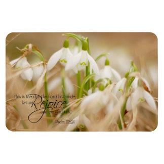 Pretty White Snowdrops Psalm 118 Magnet