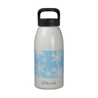 Pretty White Snowflakes On A Light Blue Background Water Bottles