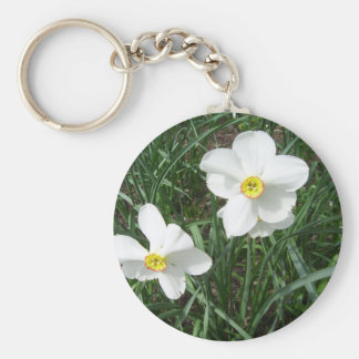 Pretty White Spring Flowers CricketDiane Keychain
