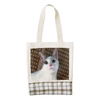Pretty White Surprised Kitty Cat Zazzle HEART Tote Bag
