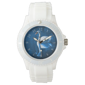 Pretty white swan floating on a blue lake wristwatch