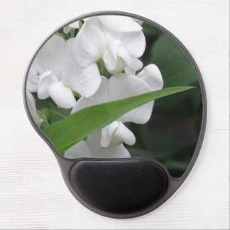 Pretty White Sweet Pea Flowers Gel Mouse Mats