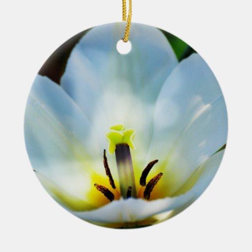 Pretty White Tulips Ornament