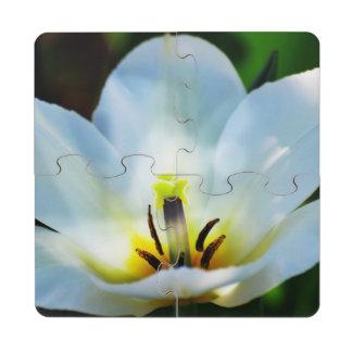 Pretty White Tulips Puzzle Coaster