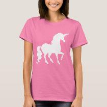 Pretty White Unicorn Silhouette Fun Trendy T-Shirt