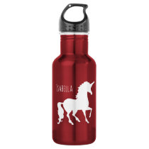 Pretty White Unicorn Silhouette Girls Beautiful Water Bottle