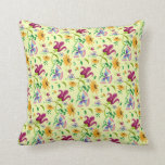 Pretty Wild Flowers Floral Pattern Throw Pillows