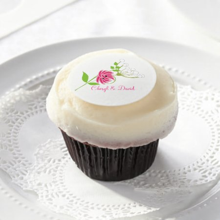 Pretty Wild Flowers Pink Green Personalized Edible Frosting Rounds
