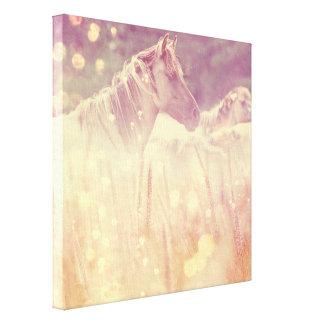 Pretty Wild Mustang Gold Glitter Horse Canvas Print