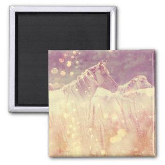 Pretty Wild Mustang Gold Glitter Horse Magnet