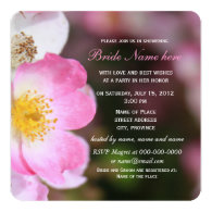 pretty wild pink rose flowers bridal shower personalized invite