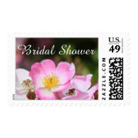 pretty wild pink rose flowers bridal shower stamps