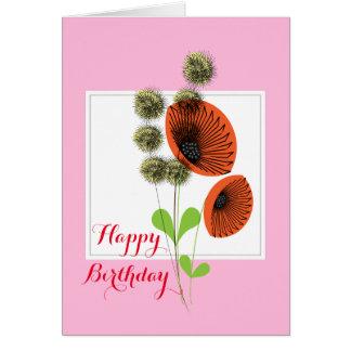 Pretty Wild Red Poppy Flowers Card