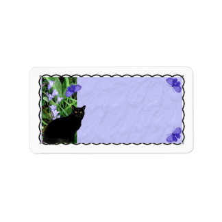 Pretty Wildflowers and Cat Address Labels