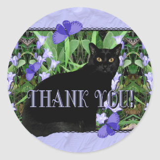 Pretty Wildflowers and Cat Thank You Stickers