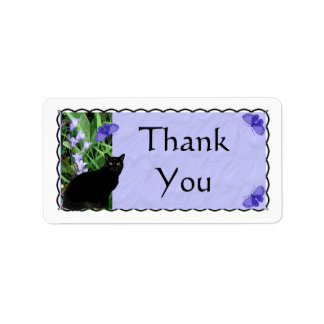 Pretty Wildflowers and Cat Thank You Stickers - La Label