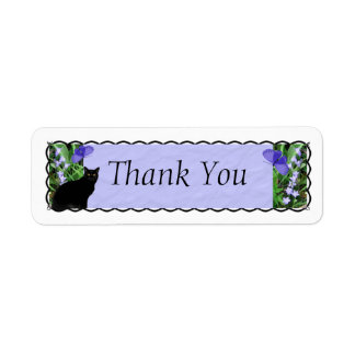 Pretty Wildflowers and Cat Thank You Stickers Label