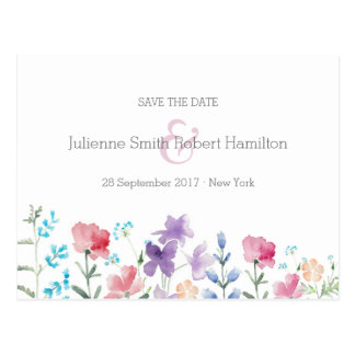 Pretty Wildflowers | Rustic Save the Date Postcard