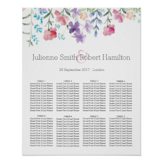 Pretty Wildflowers | Rustic Wedding Seating Chart Poster