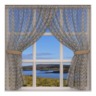 Pretty Window View with Lace Drapes Poster