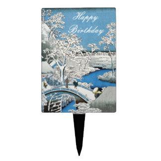 Pretty Winter Asian Bridge Scene Blue White Cake Topper