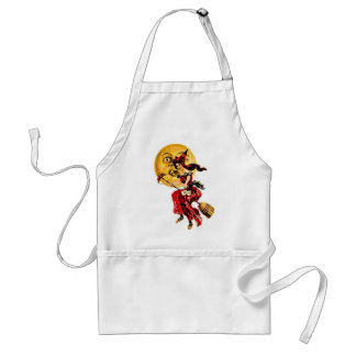 Pretty Witch on Broom Adult Apron