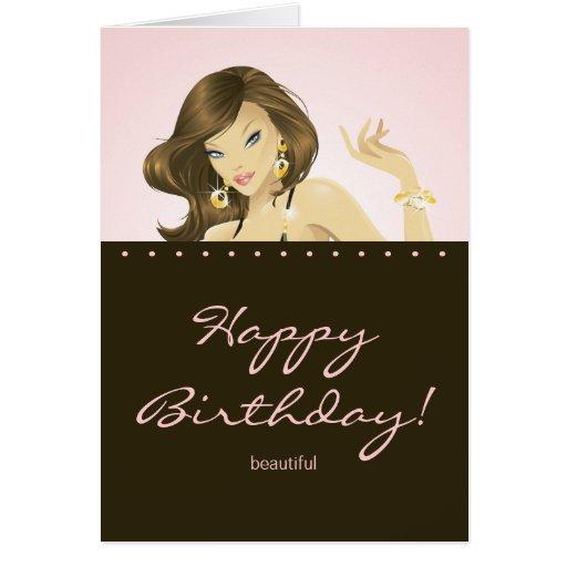 Pretty Woman Birthday Card Pink
