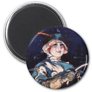 Pretty Woman Driving, 1920s Magnet