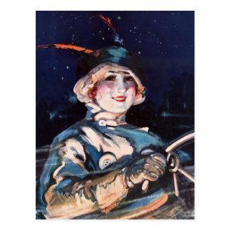 Pretty Woman Driving, 1920s Postcard