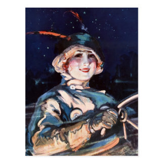 Pretty Woman Driving, 1920s Postcards