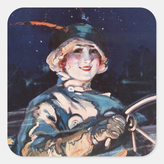 Pretty Woman Driving, 1920s Square Sticker