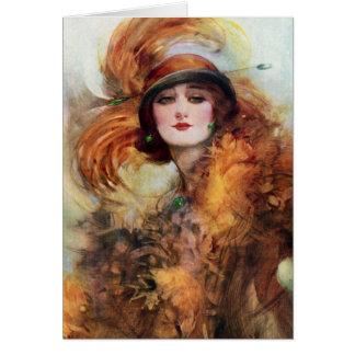 Pretty Woman Flapper Fashion 1920s Greeting Cards