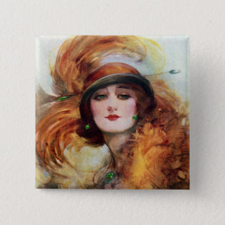 Pretty Woman Flapper Fashion 1920s Pinback Button
