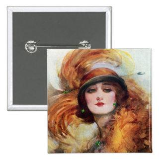 Pretty Woman Flapper Fashion 1920s Pinback Button