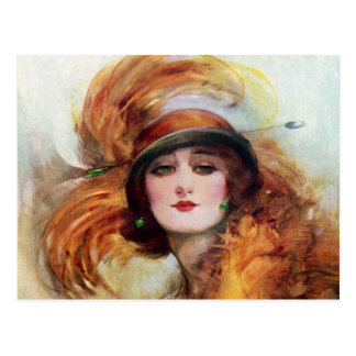 Pretty Woman Flapper Fashion 1920s Postcard