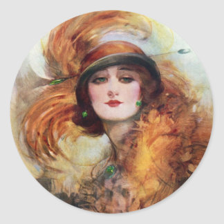 Pretty Woman Flapper Fashion 1920s Classic Round Sticker